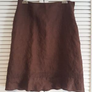 Brown skirt with ruffle trim